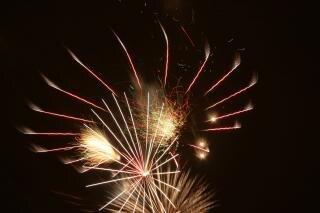 Fogos de artifício, newyears, bomba, cores
