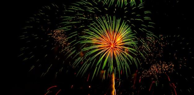 Fogos-de-artifício no céu em suan luang rama 9 thailand.
