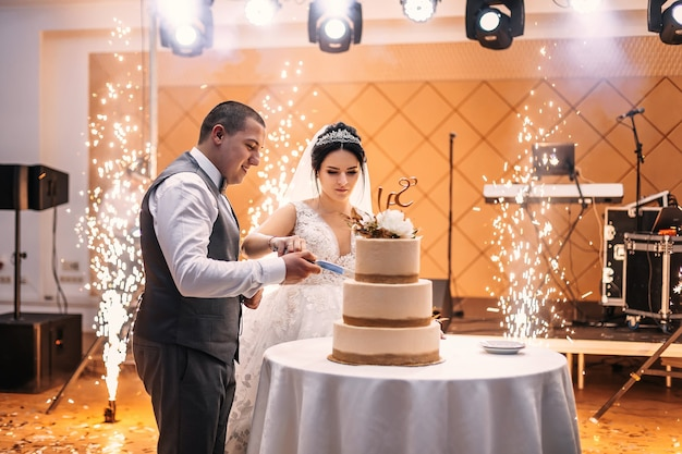 Fogos de artifício no corredor do restaurante e noivos cortam o bolo de casamento.