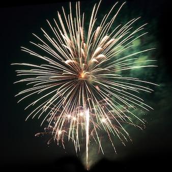 Fogos de artifício, saudação com o fundo do céu negro