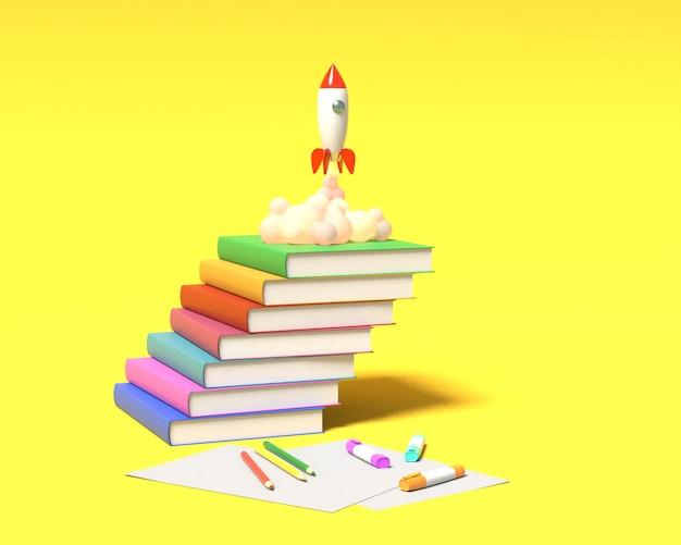 Foguete de brinquedo decola dos livros vomitando fumaça sobre um fundo amarelo