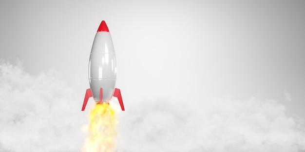 Foguete de desenho animado decolar. conceito de inicialização, renderização em 3d