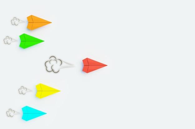 Foguete de papel 3d take aleader, conceito de navio líder, renderização de ilustração 3d
