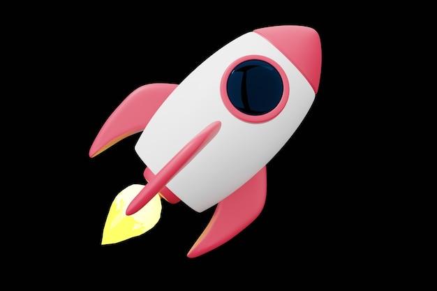 Foguete isolado em preto, illustartion 3d. nave espacial branca vermelha voar no espaço.
