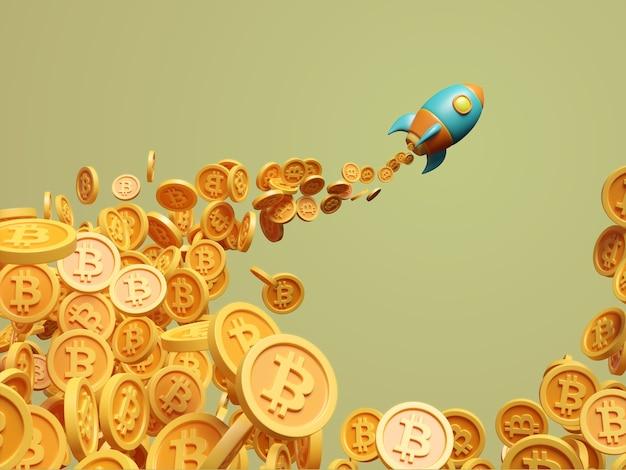 Foguete lançado navio bitcoin criptomoeda renderização de ilustração 3d