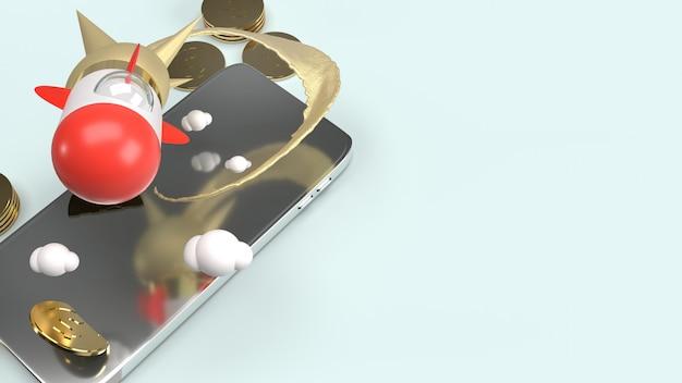 Foguete no telefone móvel renderização em 3d para conteúdo de inicialização.