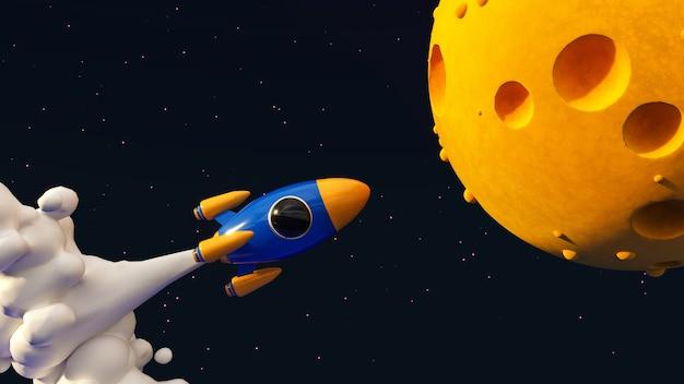 Foguete para a ilustração da lua do conceito 3d.