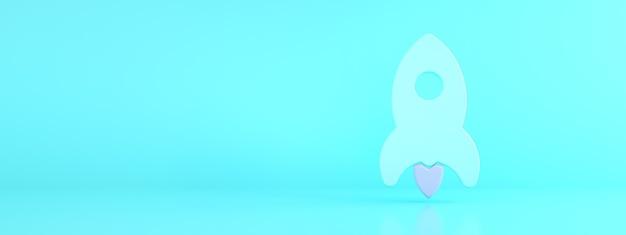 Foguete sobre fundo azul, conceito de negócio de inicialização, renderização 3d, maquete panorâmica