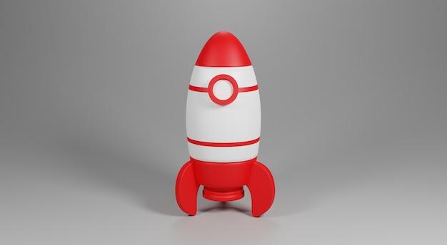 Foguete vermelho e branco 3d