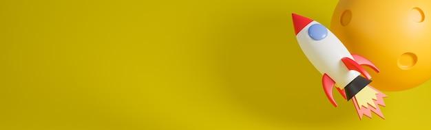 Foguete voa com a lua sobre fundo amarelo. ilustração e modelo de concept.3d de inicialização de negócios.