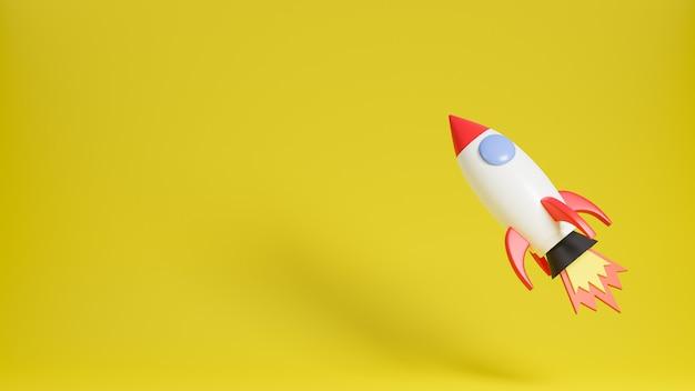 Foguete voa sobre fundo amarelo. ilustração e modelo de concept.3d de inicialização de negócios.