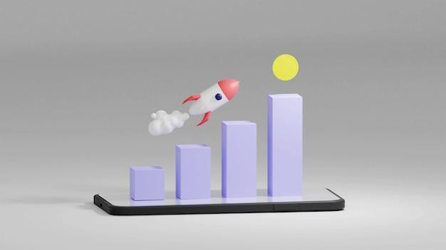 Foguete voador com o gráfico de crescimento e moeda em renderização 3d
