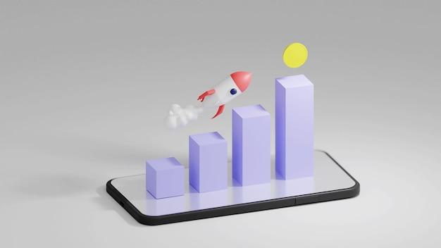 Foguete voador com o gráfico de crescimento e moeda em visualização isométrica renderização 3d