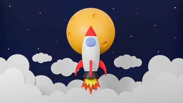 Foguete voando sobre a nuvem vai à lua no fundo da galáxia. ilustração e modelo de concept.3d de inicialização de negócios.