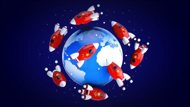 Foguetes ao redor do mundo - ilustração 3d