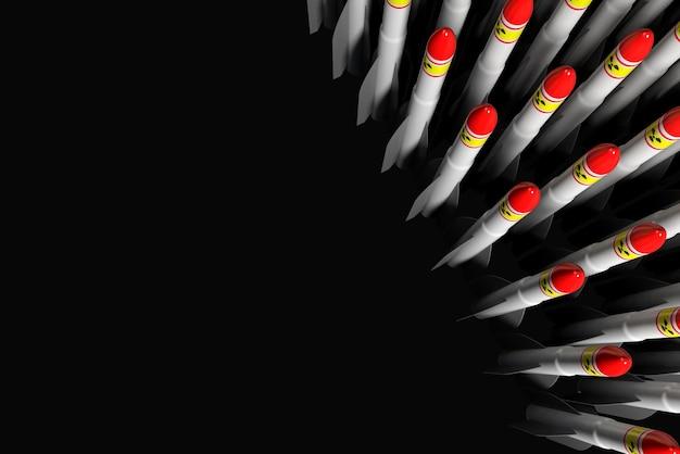 Foguetes de combate com os símbolos da arma atômica exibidos em uma linha. ilustração 3d