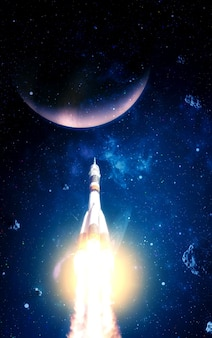 Foguetes são lançados no espaço no céu estrelado. foguete começa no conceito de espaço.