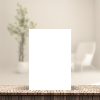 Folha 3d em uma placa de tabela