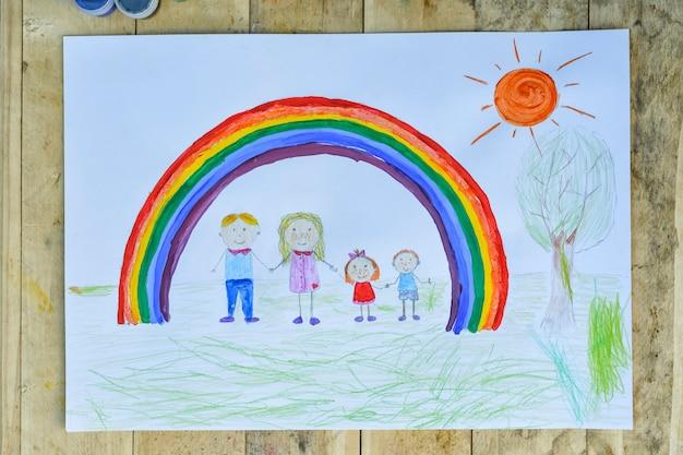 Folha com pais e filhos de mãos dadas sob um arco-íris