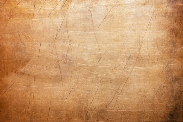 Folha de cobre gasta, close-up de textura de metal, parede