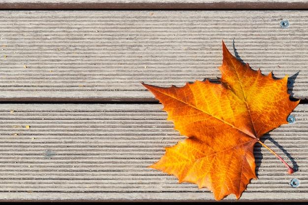 Folha de cor amarela e laranja de gradiente de outono em fundo de madeira com espaço de cópia