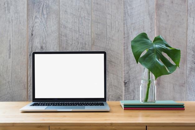Folha de monstera em garrafa de vidro sobre os livros e laptop com tela branca