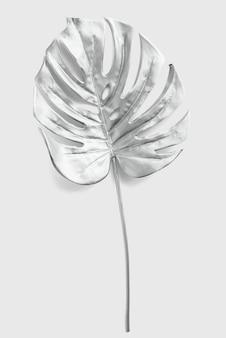 Folha de monstera pintada em prata em um fundo cinza