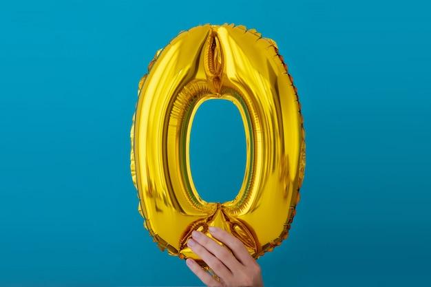 Folha de ouro número 0 balão zero celebração