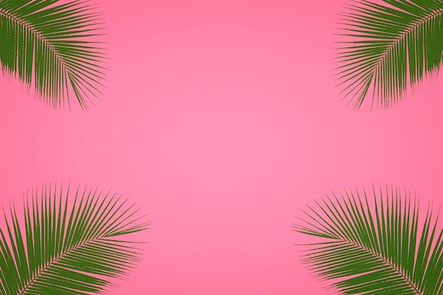 Folha de palmeira tropical em fundo rosa pastel, fundo de verão