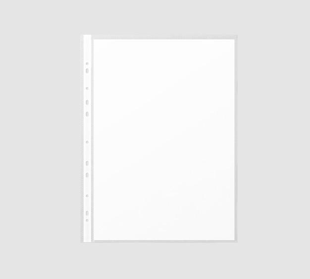 Folha de papel a4 branca em branco na manga de plástico transparente