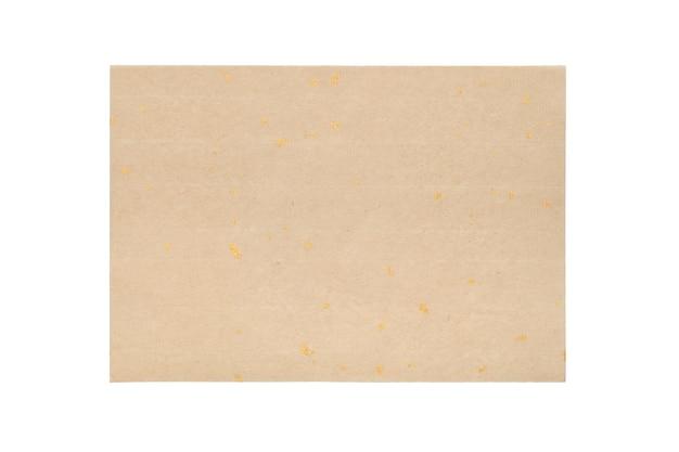 Folha de papel artesanal tradicional isolada em fundo branco