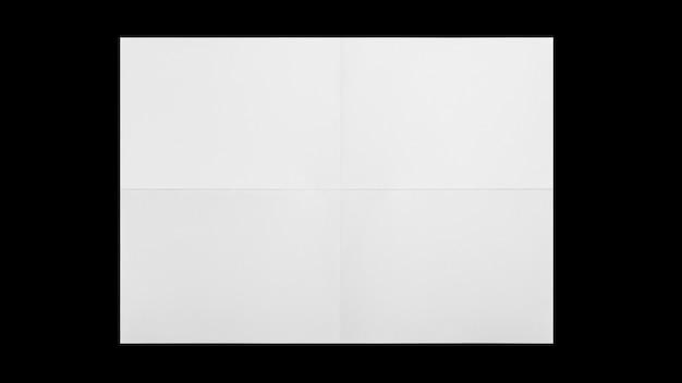 Folha de papel branca dobrada isolada no fundo preto