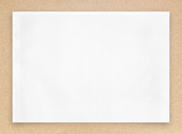 Folha de papel branco com padrão de linha de grade.