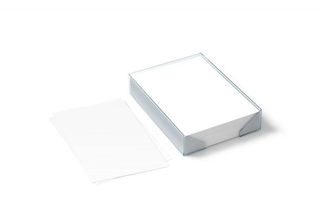 Folha de papel branco em branco e bloco a4 de plástico