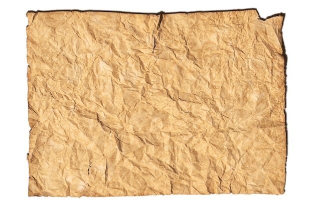 Folha de papel de fundo com textura de papel marrom amarrotado