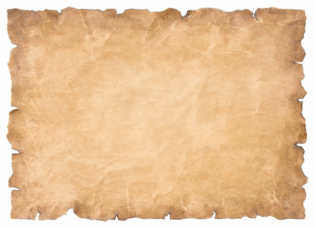 Folha de papel de pergaminho velha vintage envelhecida ou textura isolada no fundo branco.