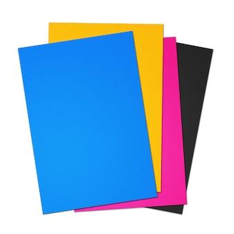 Folha de papel em branco cmyk a4 definida na superfície branca