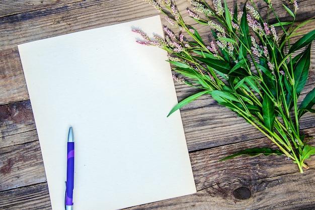 Folha de papel em branco, uma caneta e pequenas flores, vista superior