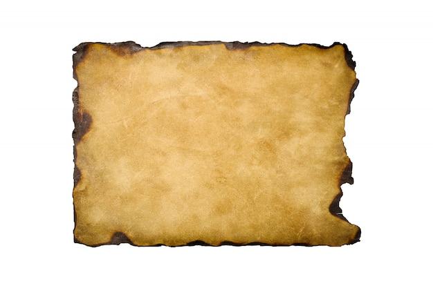Folha de papel retrô vintage velho com as bordas queimadas