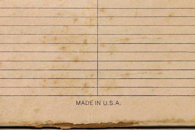 Folha de papel revestido manchado, vintage forrado de papel forrado