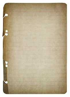 Folha de papel velha isolada no fundo branco. textura de papel usada. estilo vintage em tons com vinheta