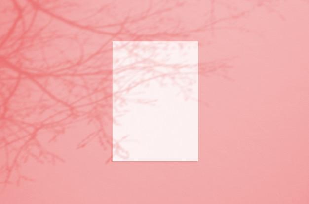 Folha de papel vertical branca em branco 5x7 polegadas com sobreposição de sombra de árvore