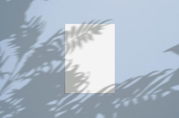Folha de papel vertical branco em branco 5x7 polegadas com sobreposição de sombra de palma. cartão moderno e elegante ou convite de casamento simulado acima.