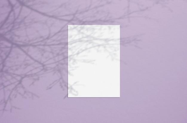 Folha de papel vertical em branco branco com sobreposição de sombra de árvore