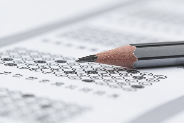 Folha de pontuação de teste com respostas