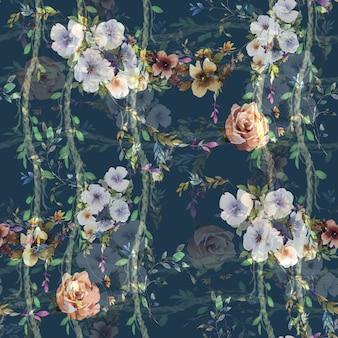 Folha e flores aquarela padrão sem emenda