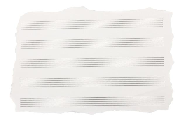 Folha rasgada de papéis de nota