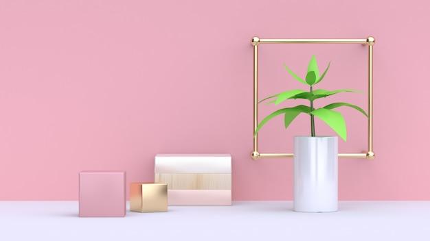 Folha verde da árvore no pote branco e abstrato rosa cubo de ouro parede rosa fundo mínimo rendição 3d