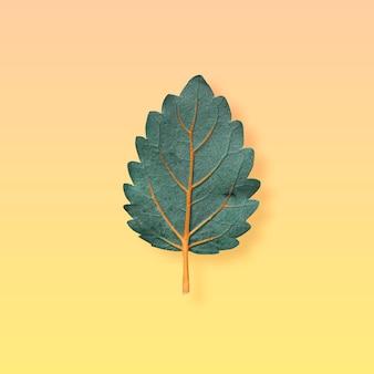 Folha verde formando uma árvore em um fundo laranja