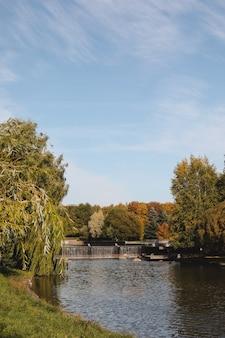 Folhagem colorida de outono com reflexo na água.